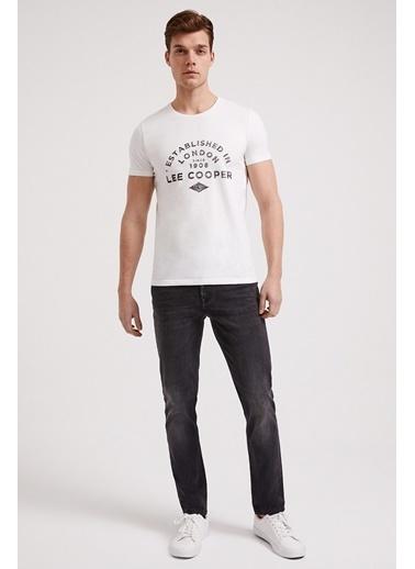 Lee Cooper Erkek Siyah Establıshed  Tişört 202 LCM 242010 Beyaz